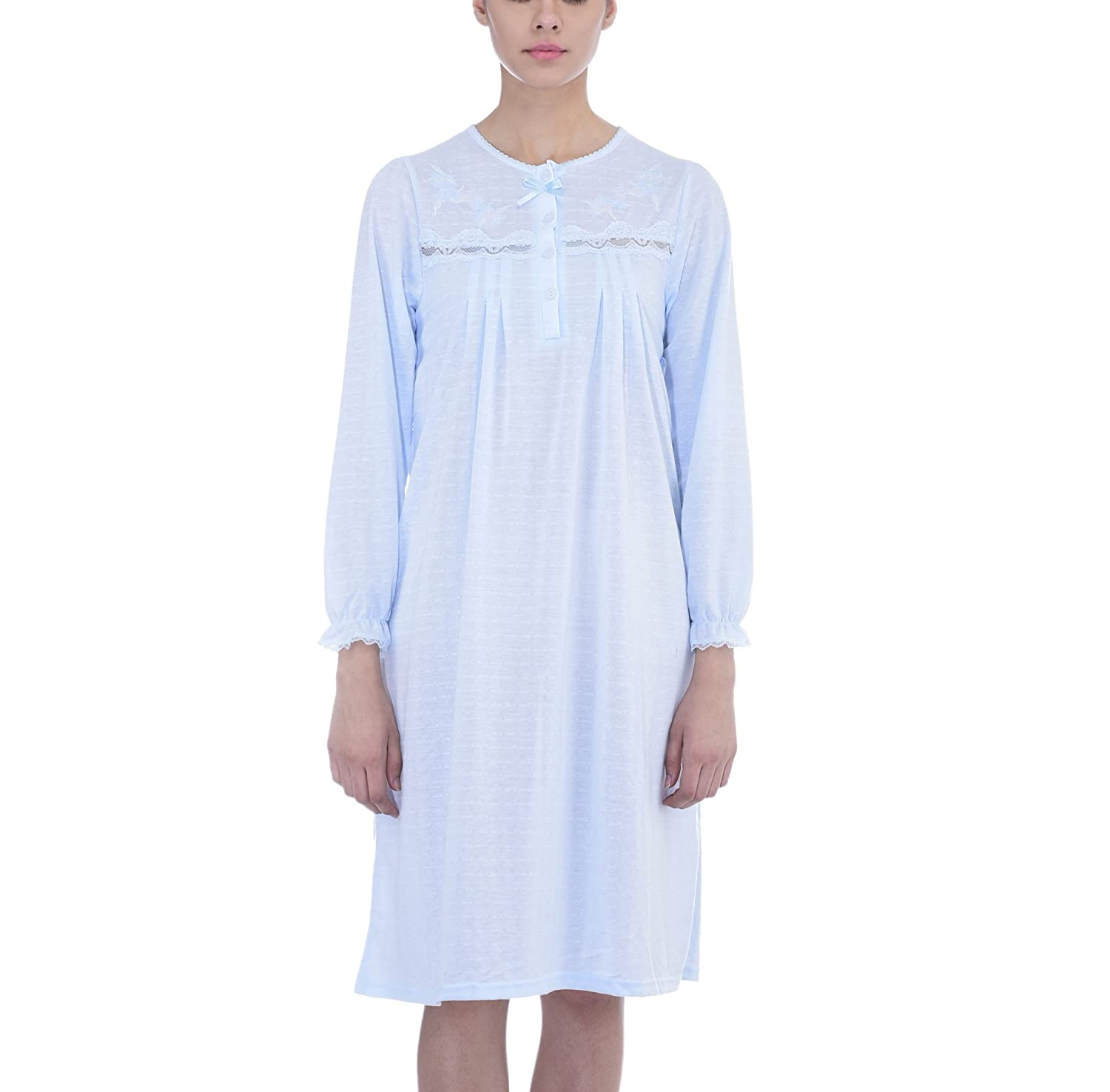 e64ce415a8 Ezi Womens Long Sleeve Lacy Pointelle Cotton Nightgown by at Amazon Women s  Clothing store