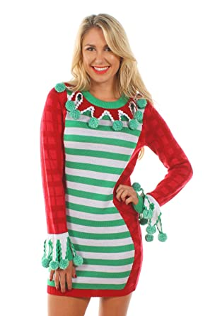 tipsy elves womens green and red tacky christmas sweater dress x small - Christmas Sweater Dress