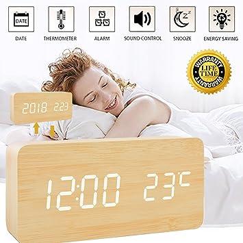 Reloj Digital Madera, Despertador de Madera Comando de voz Relojes Despertador LED Cubo 3 Alarmas