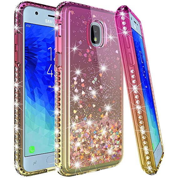 buy popular 59d19 a502a LK Case for Galaxy J3 2018/J3 Achieve/Express Prime 3/J3 Star [Gradient  Quicksand Series] Glitter Floating Flowing Sparkle Bling Diamond Clear ...