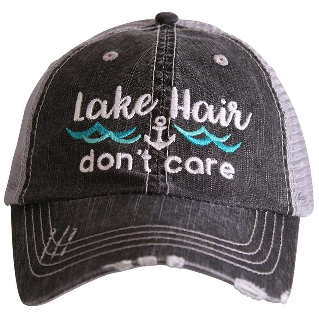 Katydid Lake Hair Don't Care Women's Distressed Grey Trucker Hat (Mint Waves)