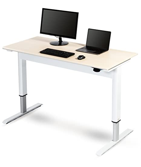 Awesome Pneumatic Adjustable Height Standing Desk 48 White Frame Birch Top Download Free Architecture Designs Crovemadebymaigaardcom