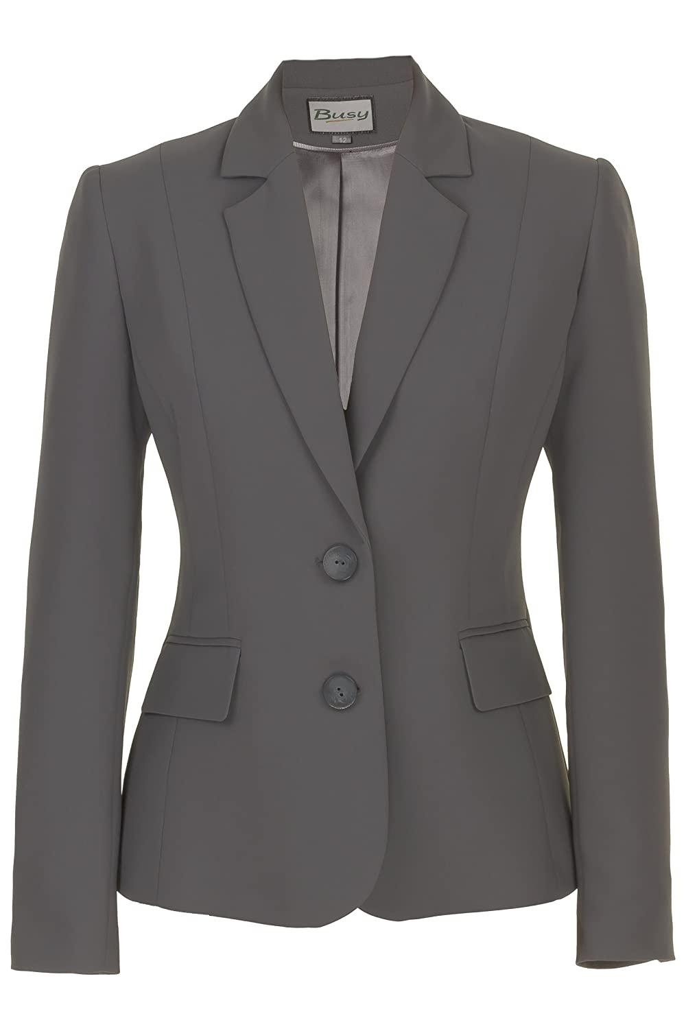 Busy Clothing Women Suit Jacket Grey Amazon Co Uk Clothing