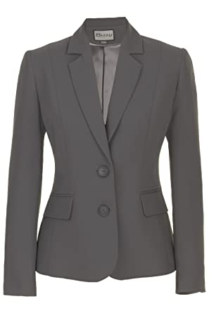 Busy Clothing Womens Grey Suit Jacket: Amazon.co.uk: Clothing