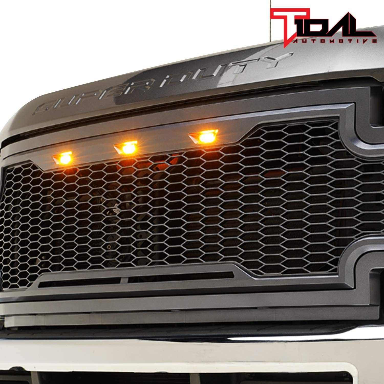Charcoal Gray Tidal Replacement Upper Grille Front Mesh Grill for 17-19 Ford F250 F350 Super Duty With Amber LED Lights