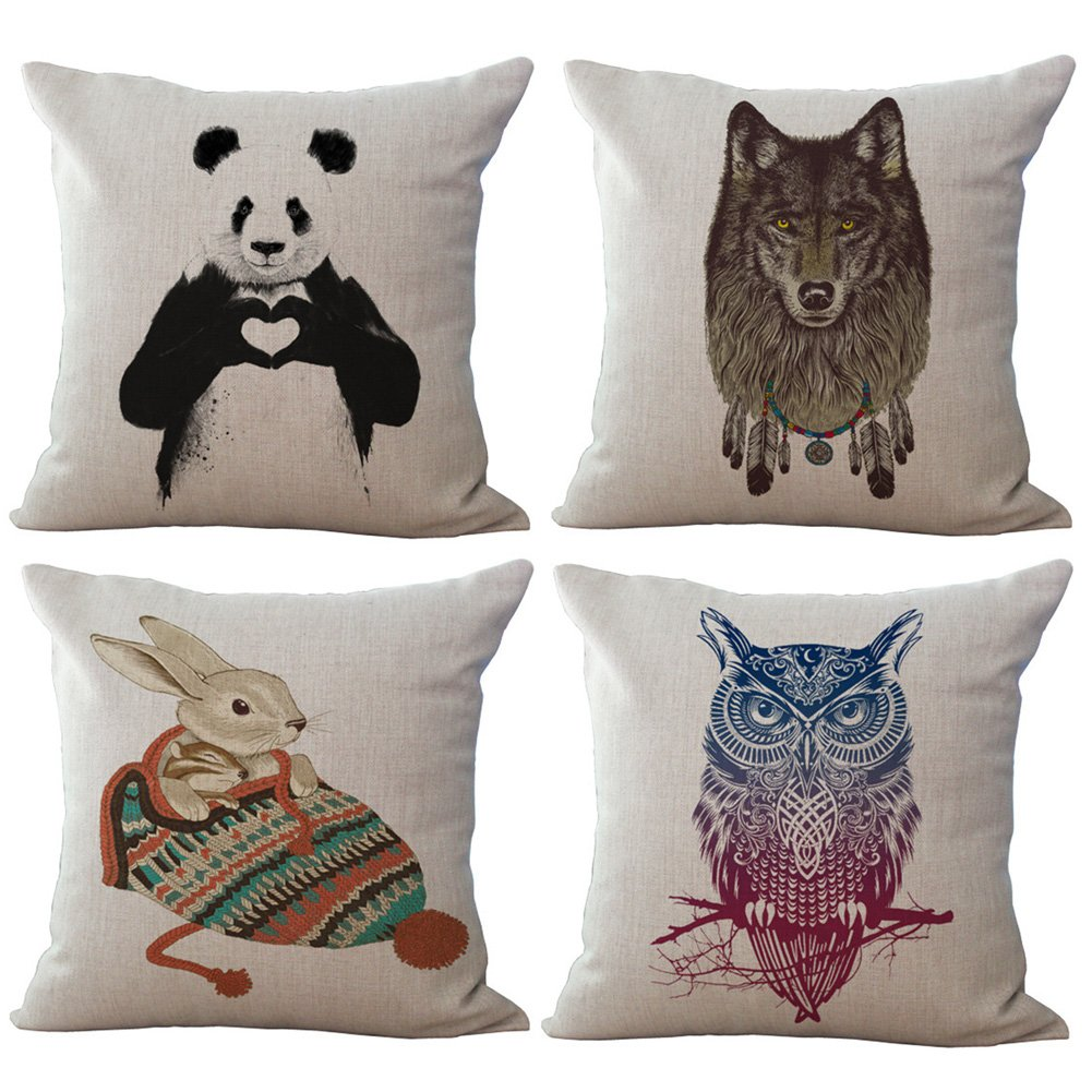 BQ Funda de cojín colorido dibujo a lápiz animales oso panda ...