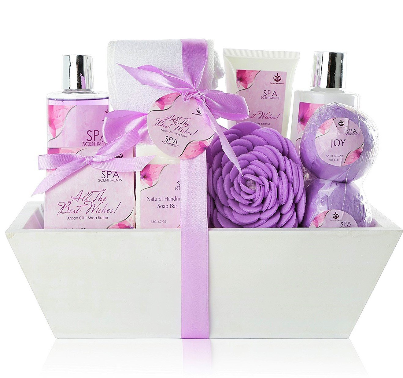 Premium Large Spa Basket, ''All The Best Wishes'' Gift Basket for Women. Bath & Body 10-Piece Gift Set. Best Christmas Gift for Women with Bath Bombs, Shower Gel, Lotions, Accesories, etc!