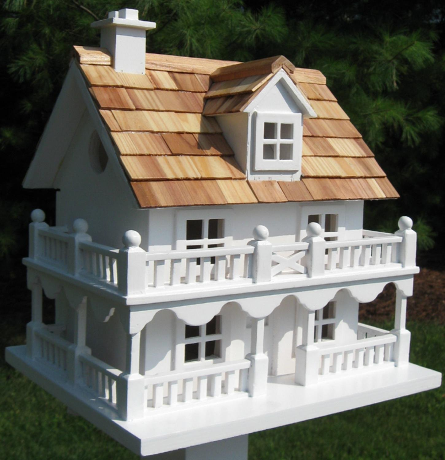 10.75'' Fully Functional White New England Cottage Outdoor Garden Birdhouse