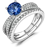 Caperci Women's Round Tanzanite and Cubic Zirconia Bridal Engagement Wedding Ring Sets in Sterling Silver 925