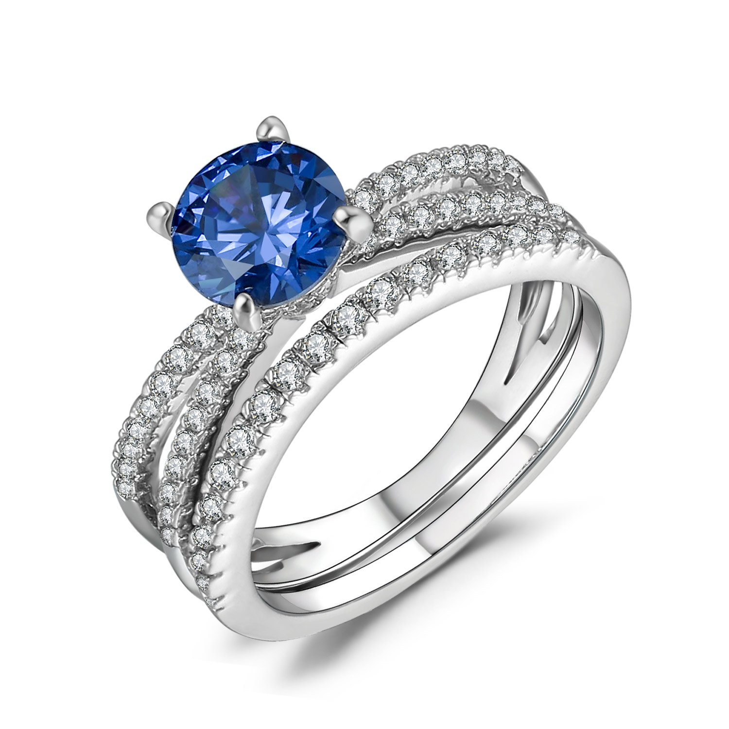 Caperci Women's 925 Sterling Silver Round Tanzanite and Cubic Zirconia Bridal Engagement Wedding Ring Sets, Size 7 by Caperci