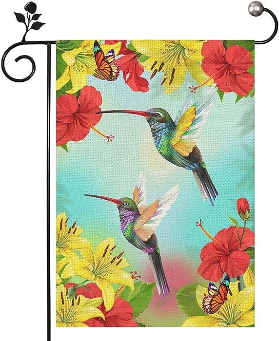 Hummingbird Garden Flags 12×18 Inch, Hibiscus Yellow Lilies Birds Small Garden Flag Double Sided, Seasonal Garden Flag Decor Outdoor Yard Garden