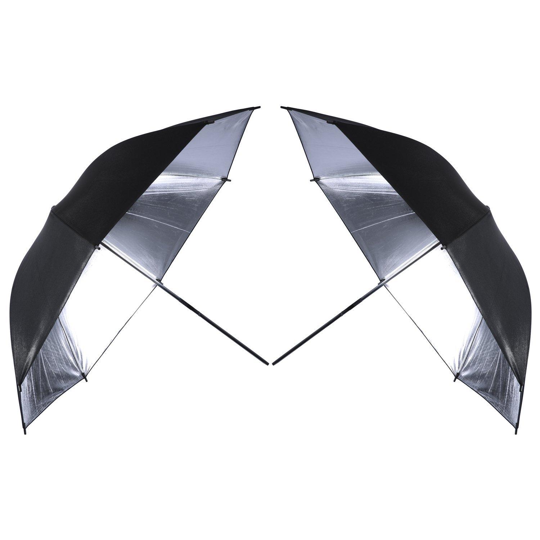 Neewer 2 PCS 33''/84cm Professional Photography Studio Reflective Lighting Black/Silver Umbrella by Neewer