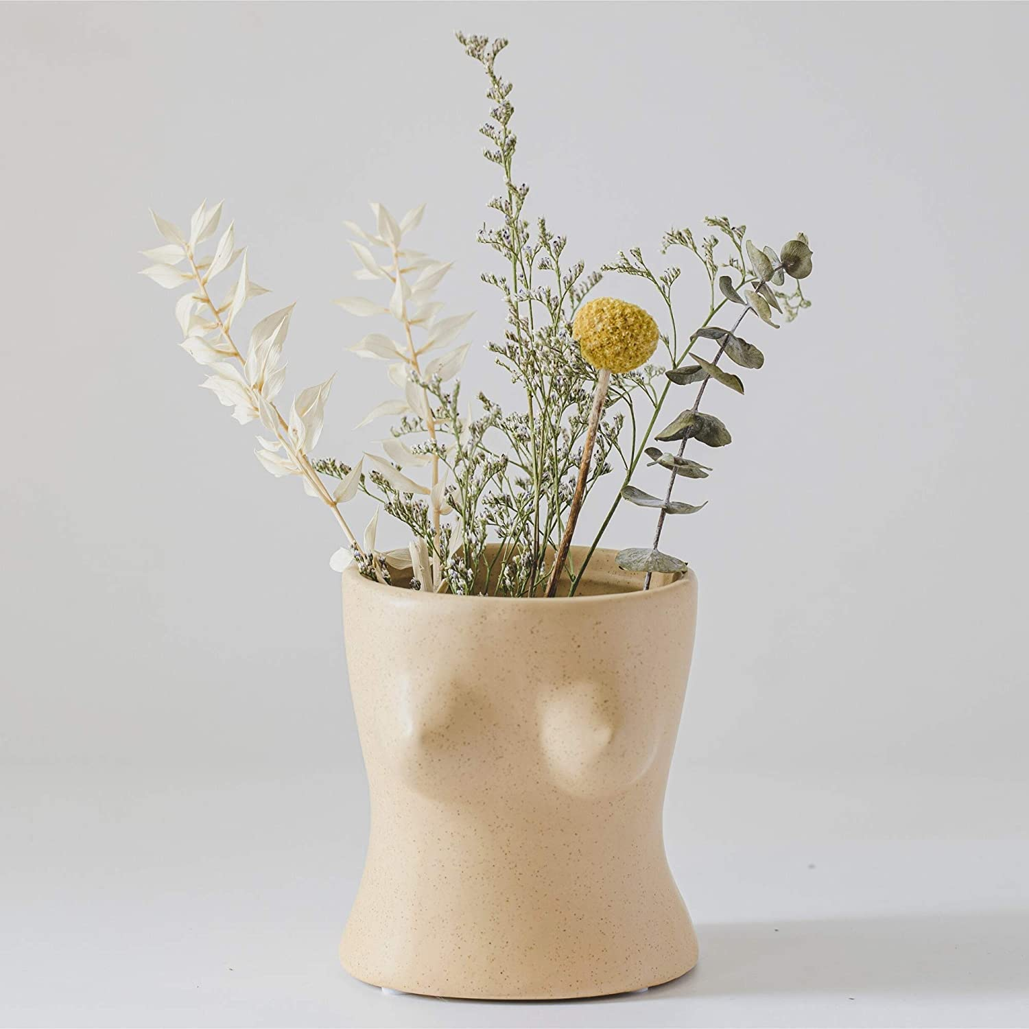 Female Form Body Flower Vase, Ceramic Vases for Modern Boho Home Decor, Lady Top Bust Boob Vase, Indoor Planter Plant Pot, Feminist Decors Cute Chic Small Accent Pieces