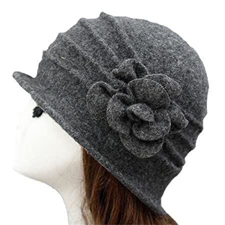 1a09357895a TININNA Winter Warm Vintage Flower Wool Cap Cloche Bucket Hat Beret Beanie  Hat for Women Ladies Deep Grey  Amazon.co.uk  Kitchen   Home