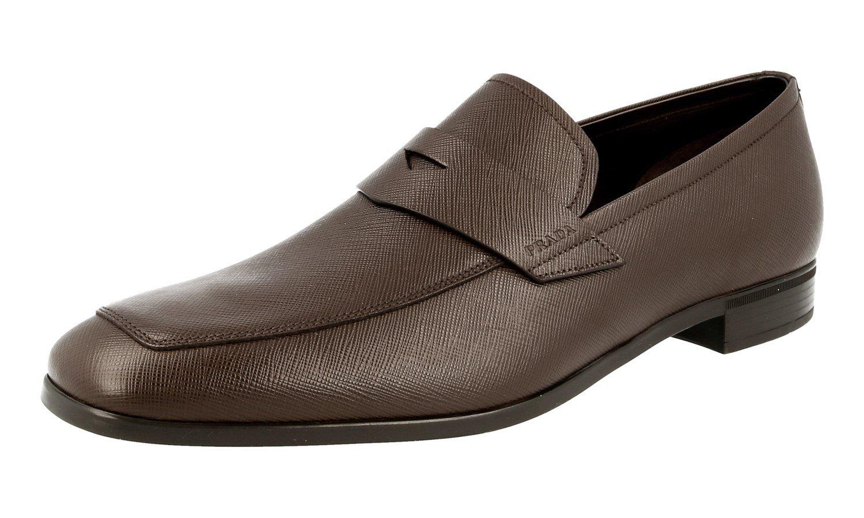 Prada Men's 2DC127 053 F0201 Brown Saffiano Leather Business Shoes EU 10 (44)/US 11