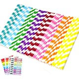 APLANET 200pcs Paper Drinking Straws Drinking Decoration Straw, Rainbow Stripe Paper Straw, for Party Holiday Celebration and Gathering, with 3 colorful straw stickers