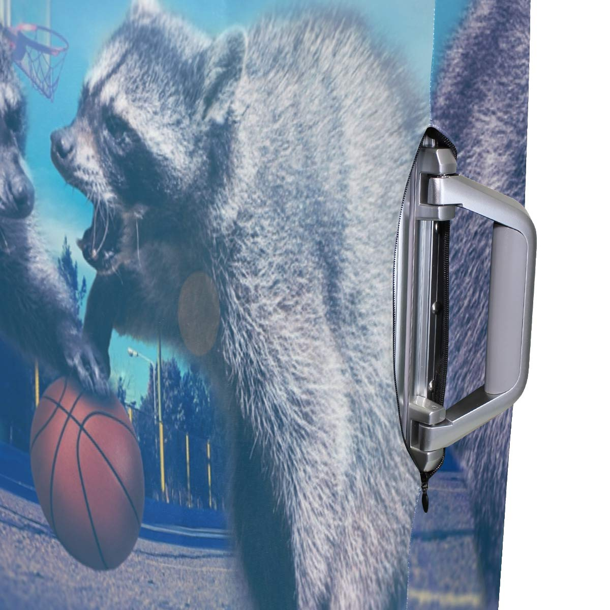 Raccoons Play Basketball Creative Picture suitcase cover elastic suitcase cover zipper luggage case removable cleaning suitable for 29-32 trunk cover