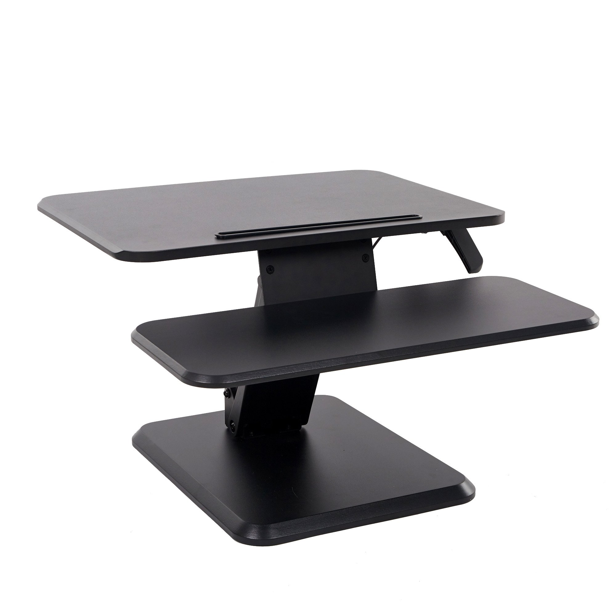 Lucky Tree Height Adjustable Standing Desk Converter Computer Monitor Riser Ergonomic Sit to Stand Desktop with Keyboard Tray for Gaming and Office