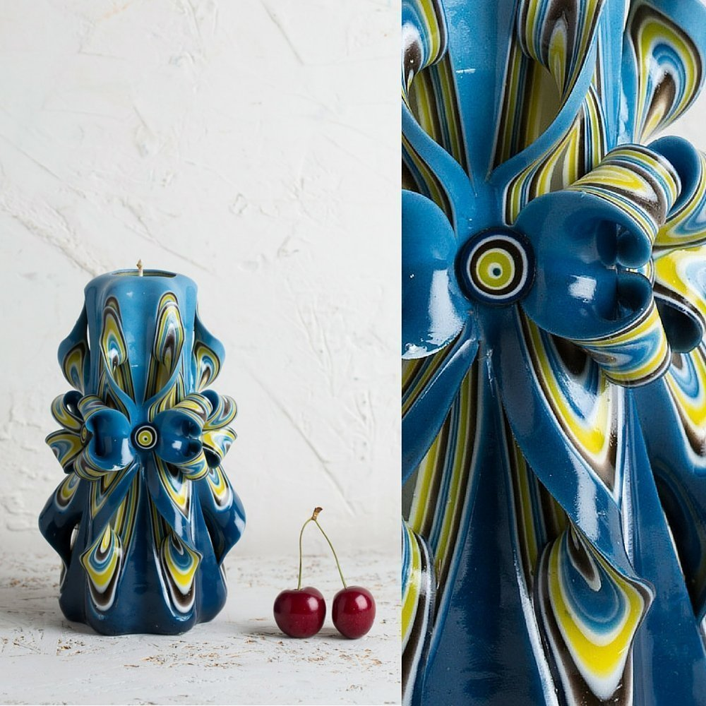 Candle set - Blue and Yellow - Bright colors - Decorative carved candle - EveCandles by EveCandles (Image #4)