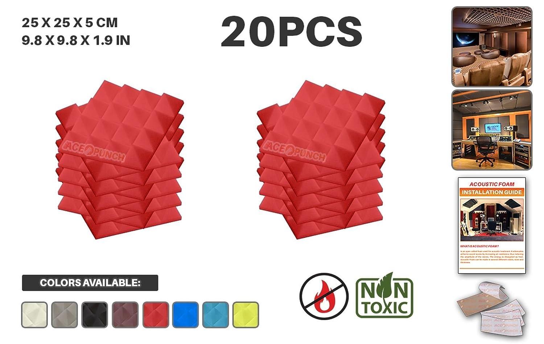 Ace Punch 20 Piezas Pirámide Aislamiento Acústica Estudios Profesionales Espuma Absorción Tratamiento Conjunto Libre Cinta Adhesiva 50 x 50 x 5 cm Perla Blanca AP1034 APIN30