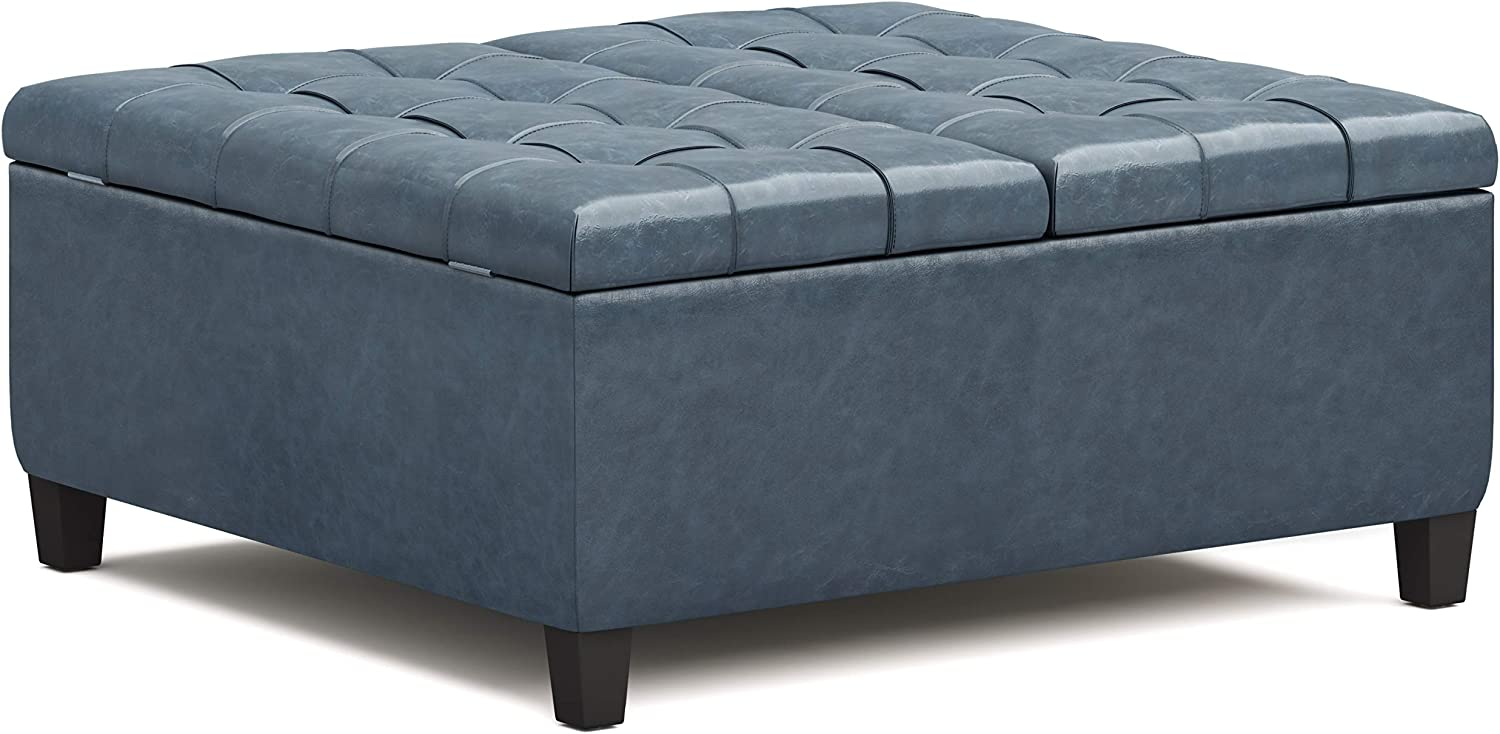 SIMPLIHOME Harrison 36 inch Wide Traditional Square Coffee Table Storage Ottoman in Denim Blue Faux Leather