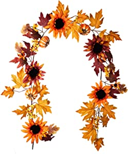 6.3Ft Harvest Maple Leaf, Pumpkin and Berry Garland Fall Maple Leaf Garland for Home Garden Wall Doorway Backdrop Fireplace Decoration, Thanksgiving Wedding Party Decor