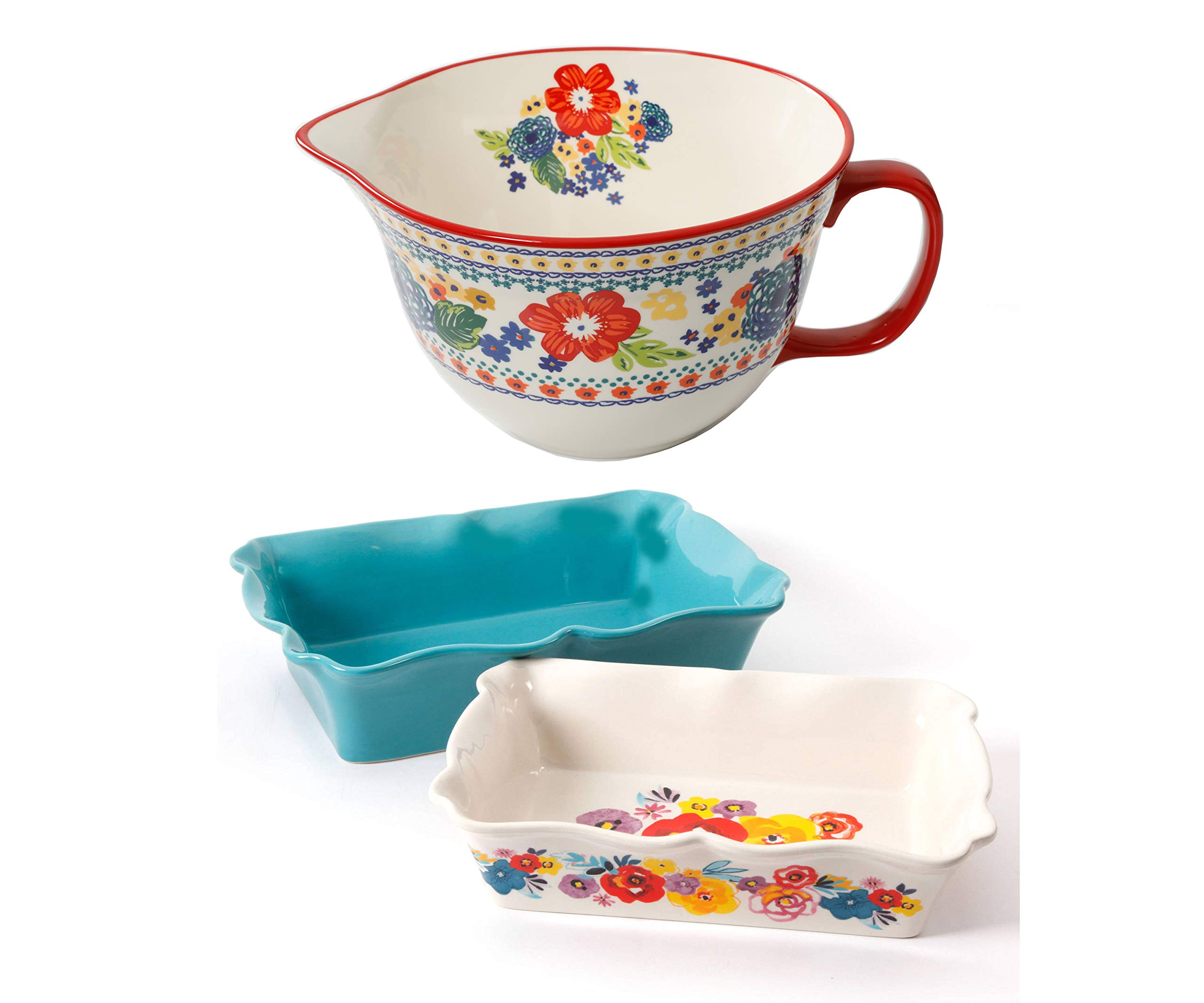 The Pioneer Woman 3.3 Quart Dazzling Dahlias Batter Bowl, 1-Piece bundle with The Pioneer Woman 2-Piece Rectangular Ruffle Top Ceramic Bakeware Set''