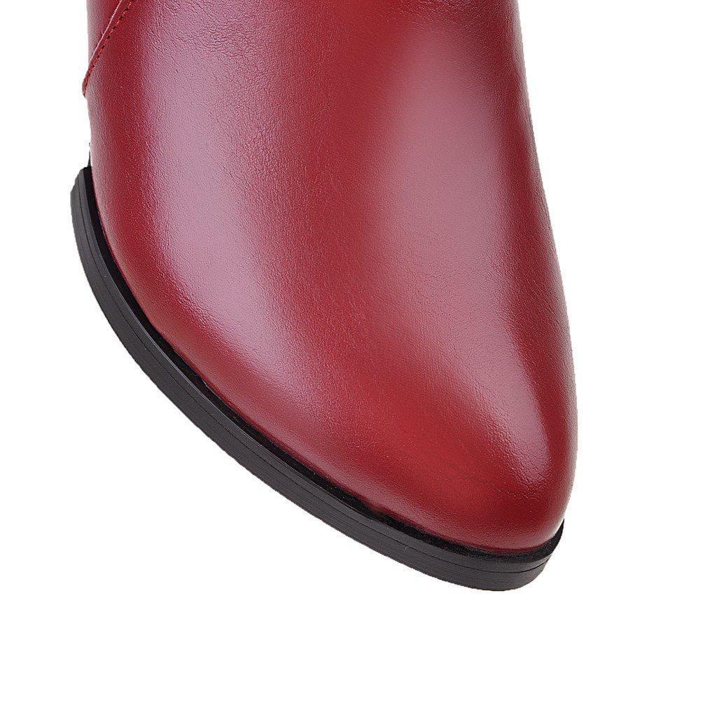 Dear Time Women Zipper Mid Block Heels Buckle Decorated Ankle Boots