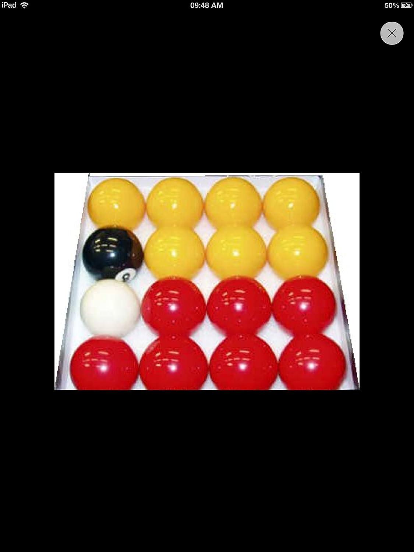 Bonne qualité (Lot de 2) Taille standard pour toutes les tables de billard anglais Billes rouges et jaunes