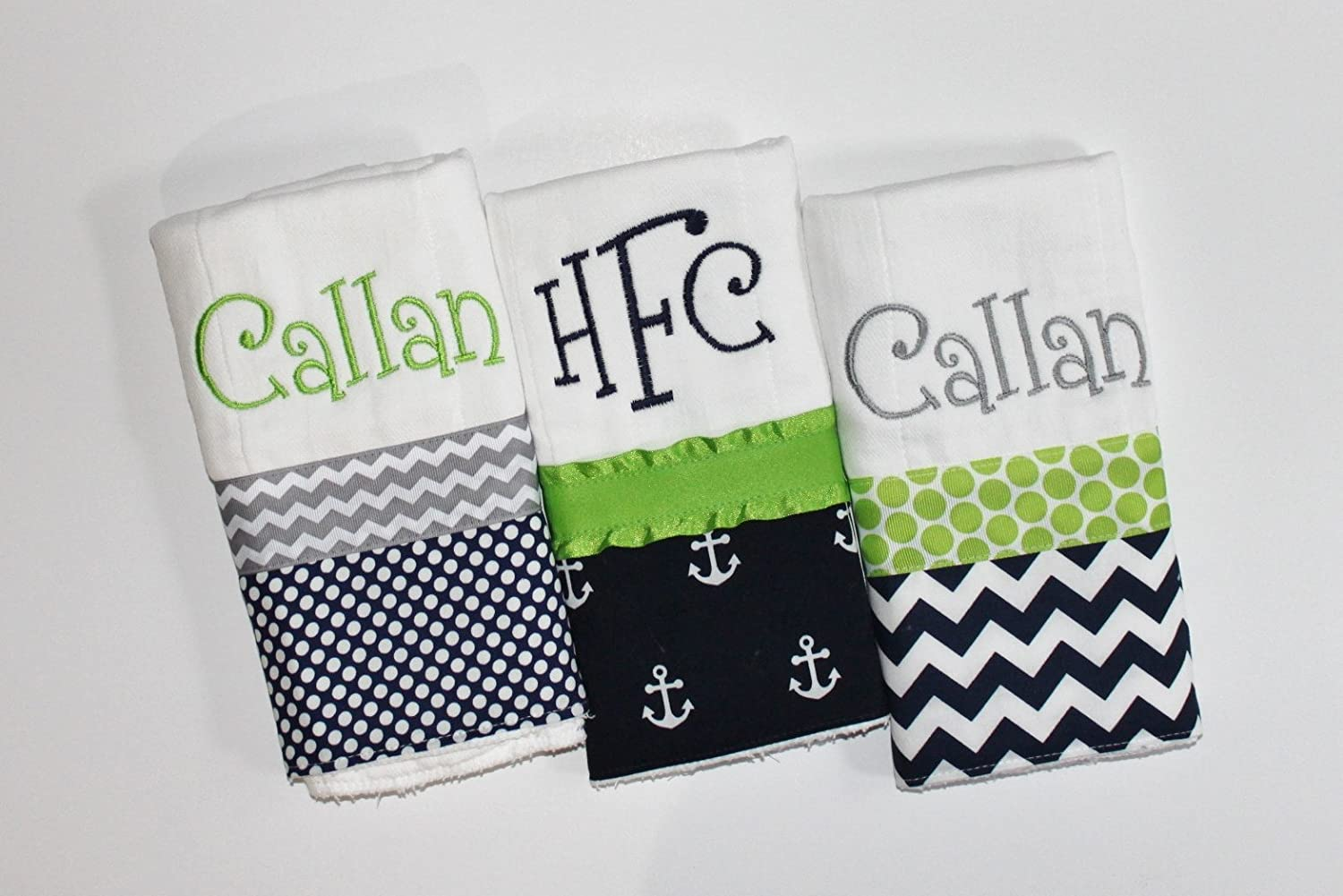 3 Personalized Baby Boy Burp Cloth Set in Navy and Lime- Anchors, Polka Dots and Chevron