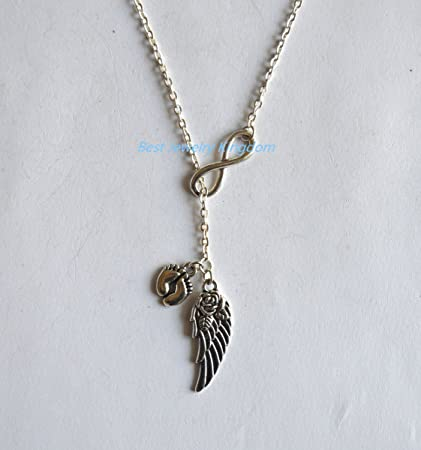 Winged Avatars Of Memory And Return >> Amazon Com Memory Necklace Angel Baby Infinity Guardian Angel