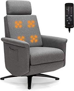 Giantex Recliner Chair with Vibration Massage, 360 Degree Swivel Reclining Sofa Chair, Adjustable Headrest & Footrest, Ergonomic Recliner Chair with Side Pocket & Remote Control for Living Room Office