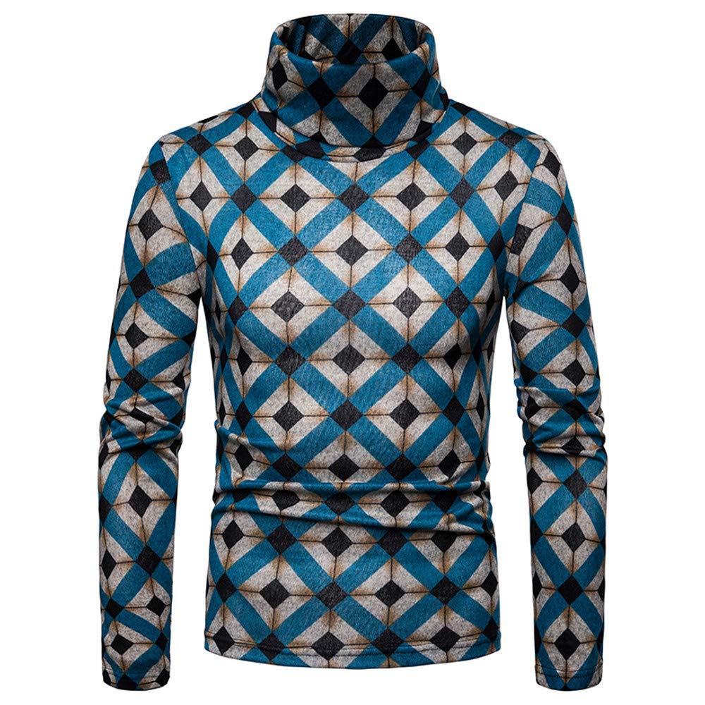 6a1bac44 Easytoy Mens Mock Turtleneck Shirt Men T Shirt Sweatshirts Sweater Pullover Slim  Fit Leopard Print Long ...