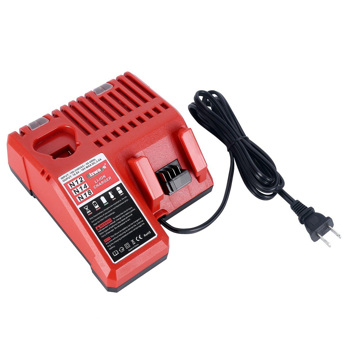 biswaye battery charger 48 59 1812 for 12v 18v milwaukee m12 m14 m18 rh amazon com