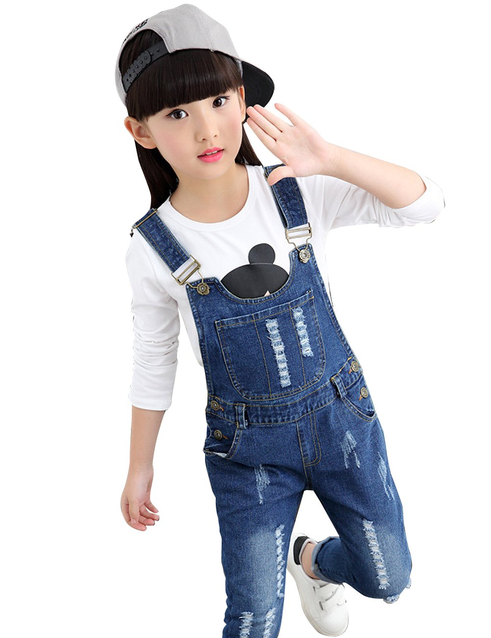 YJ.GWL Girls Fashion Ripped Denim Overalls(Blue,160)
