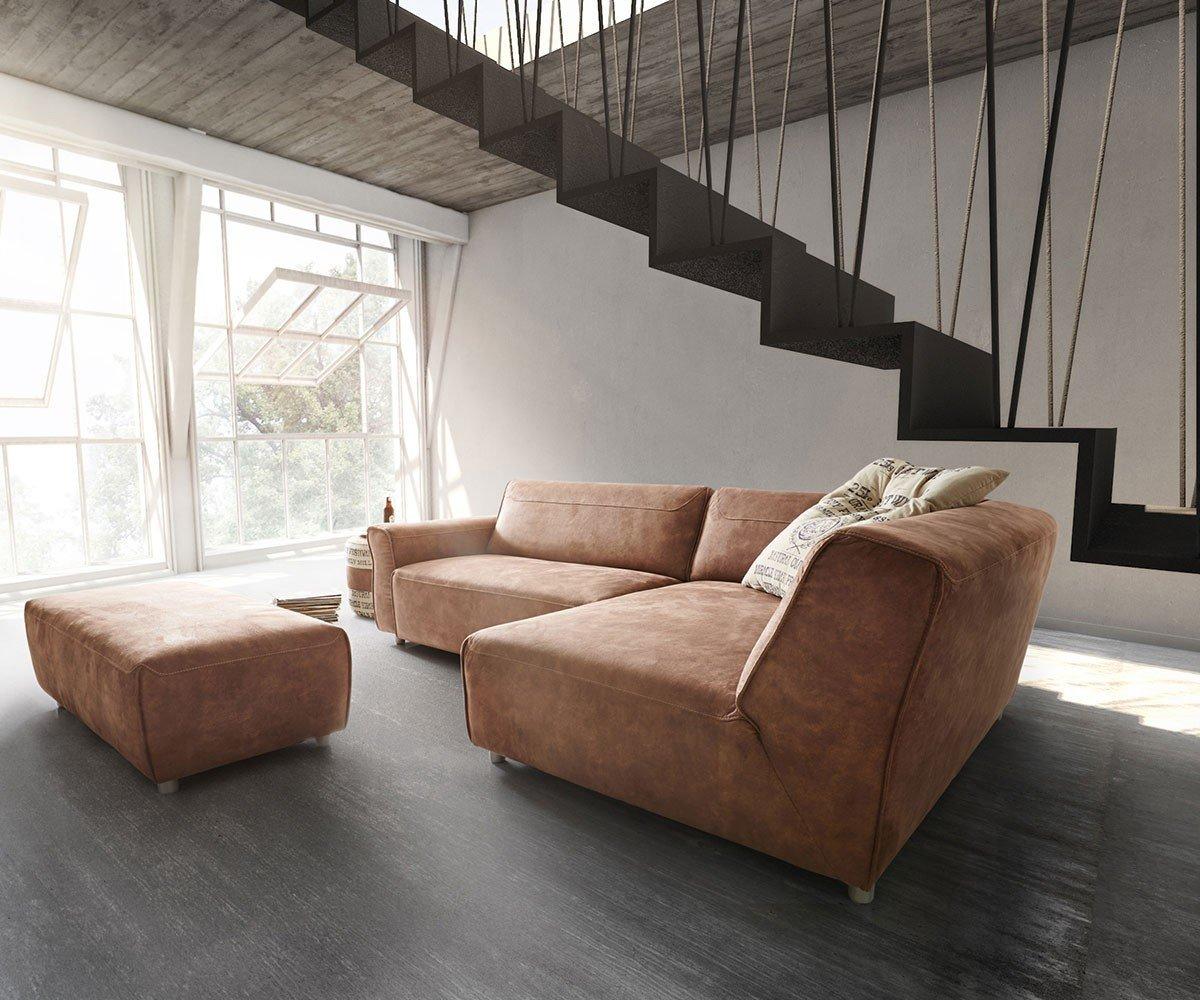 Eckcouch Loft Braun 255x160 cm inklusive Hocker by Ultsch Ecksofa