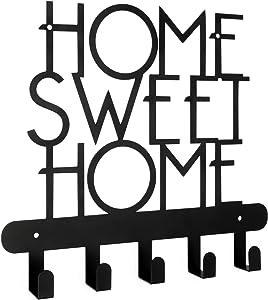 Key Holder for Wall, Home Sweet Home Sign 5 Hooks, Decorative Key Organizer, Metal Rack Hanger for Front Door, Kitchen, Garage, Store House, | Vehicle Keys, Lanyards, Craft and Utensils | Modern Decor