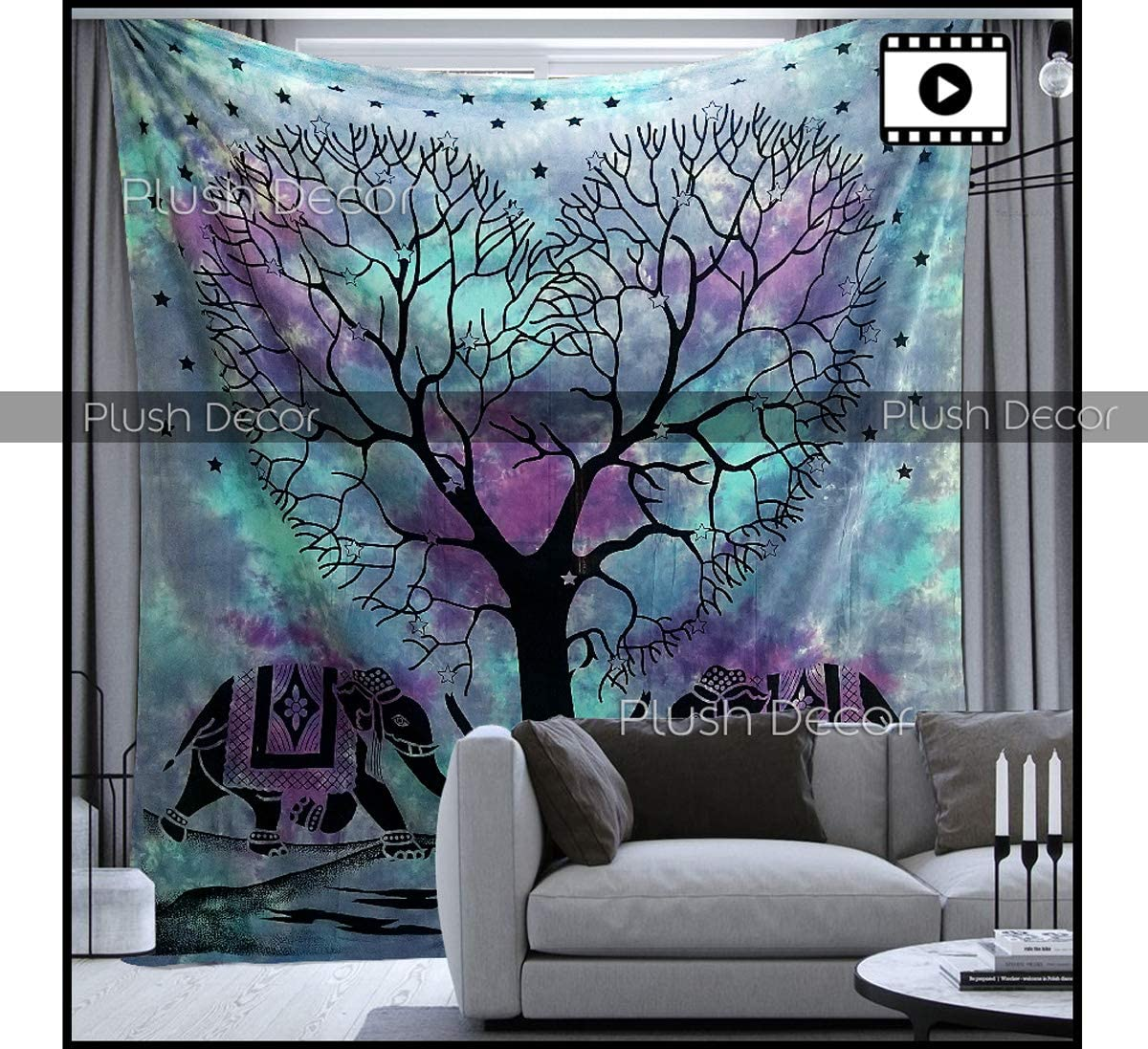PD Plush Decor Large Blue Tapestry Tie dye Purple Tapestries Hippie Indian Elephant Tree Wall Hanging Hippy Beach Blanket Bohemian Coverlet Boho Queen Bedspread