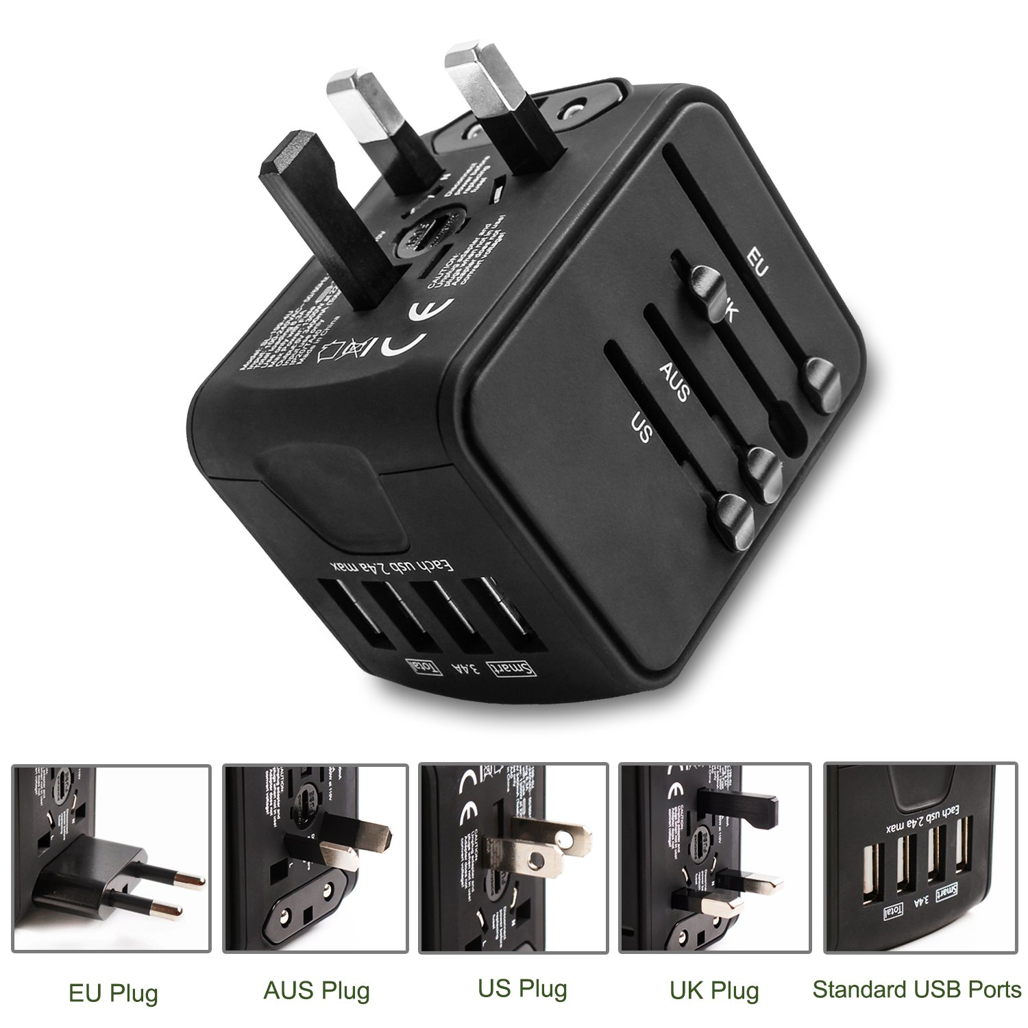 Travel Adapter,Worldwide All in 1 Universal Adapter Wall AC Power Plug 2.4A  4