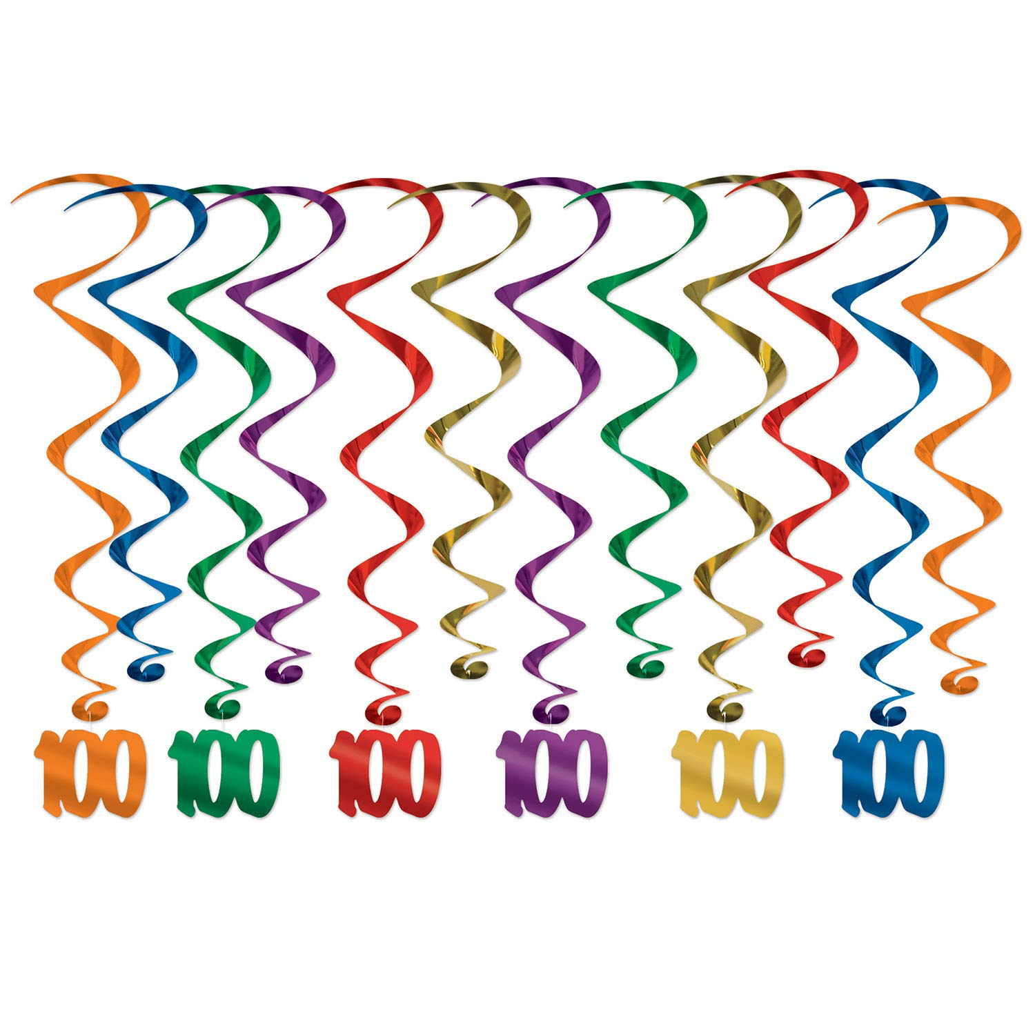 Beistle 100th Birthday Decorations Birthday Party Supplies, Assorted Metallic 100 Whirls 17.5 Inch to 32 Inch, Pack 72