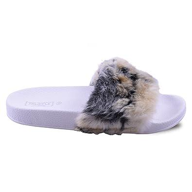 197268ef3f616b Womens Ladies Flat Faux Fur Slip On Slides Sliders Mules Fashion Sandals  Slippers Multi Leopard Animal