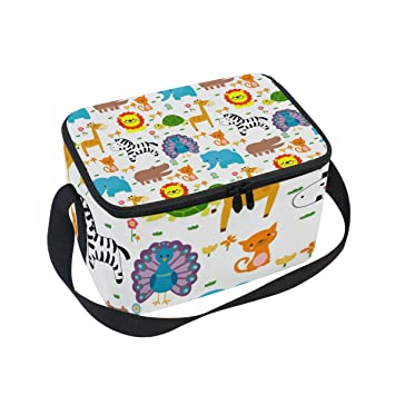 217d6eb0b576 Amazon.com: Cute Cartoon Zebra Pattern Print Insulated Lunch Box ...