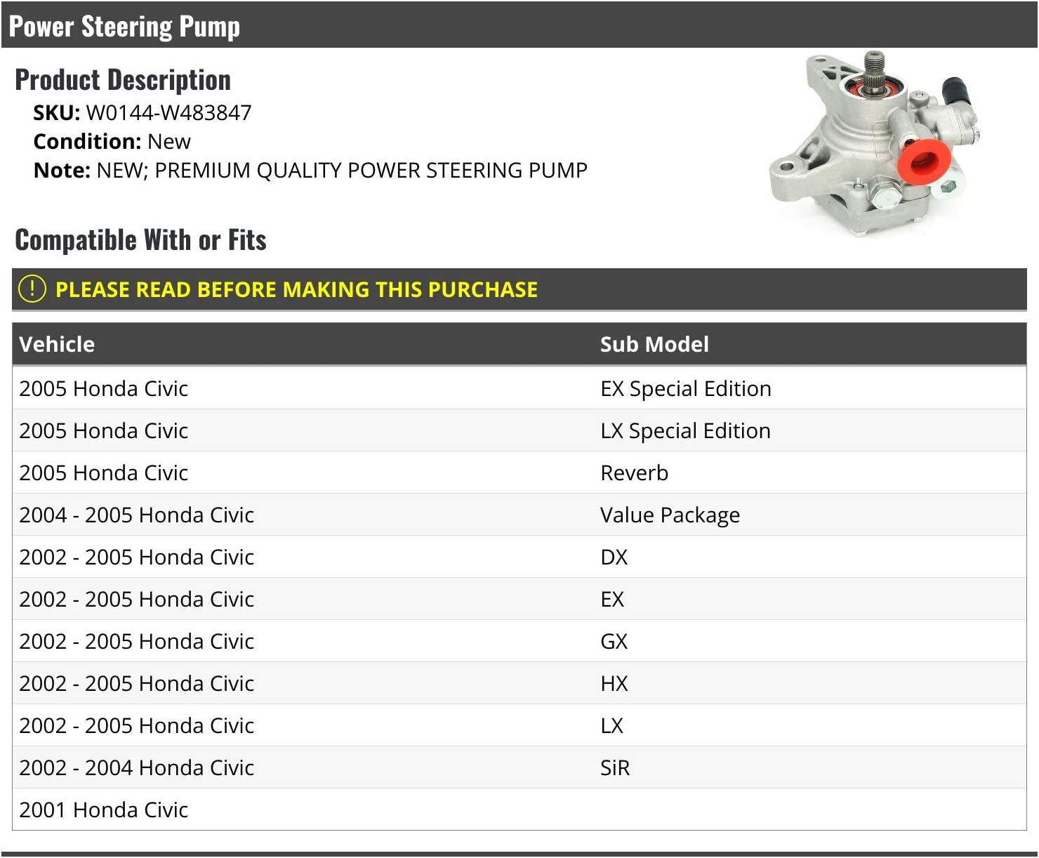 Power Steering Pump Compatible with 2001-2005 Honda Civic