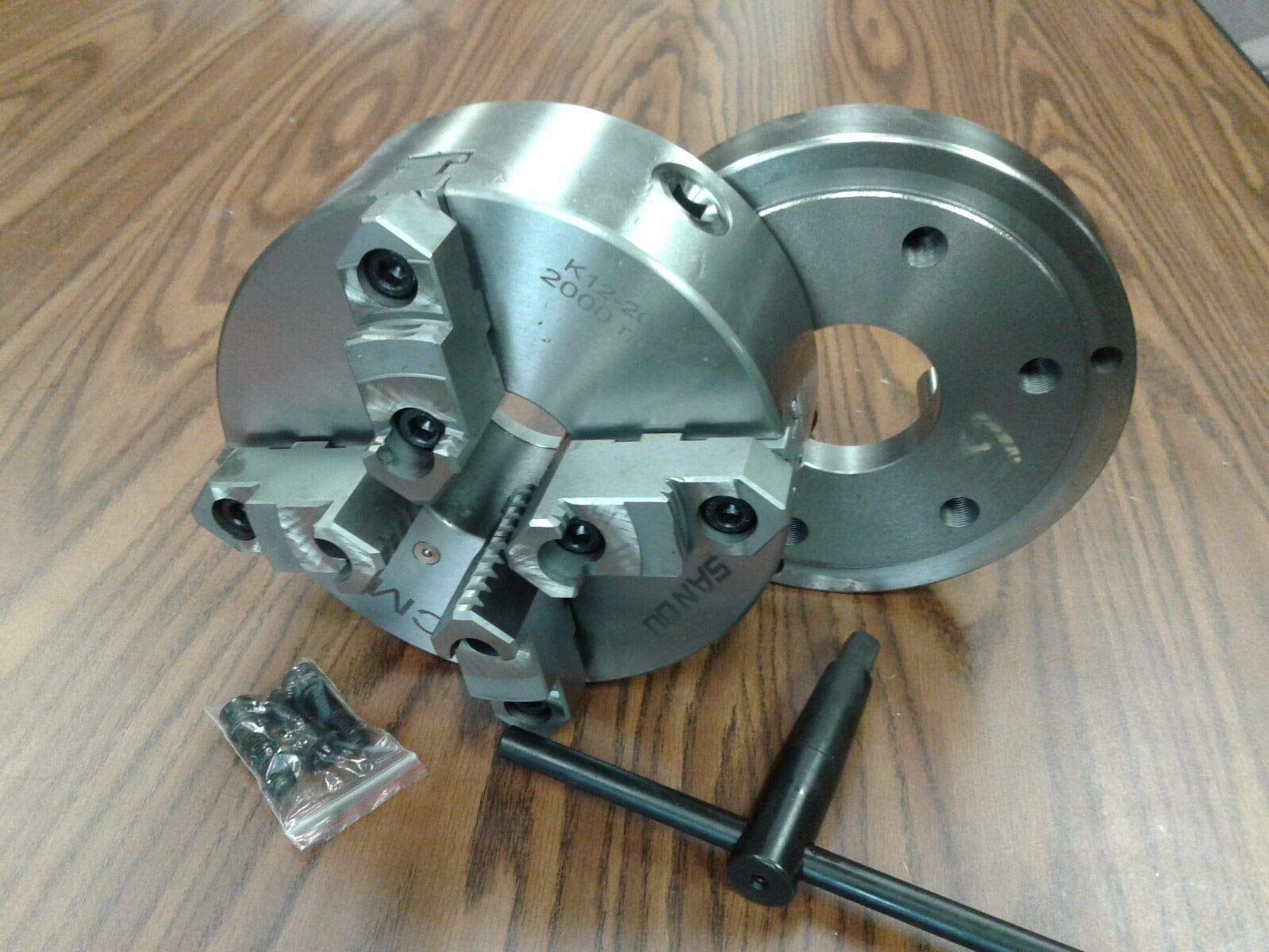 8'' 4-Jaw Self-Centering Lathe Chuck top&Bottom Jaws w. D1-6 Adapter Plate-New by CME (Image #1)