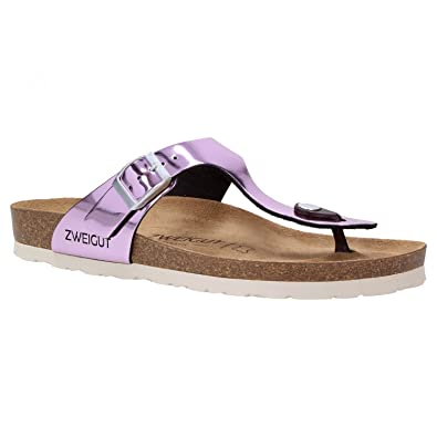 Zweigut Hamburg- Luftig #555 Damen Zehentrenner Sandalen Schuhe Sommer mit Leder-Komfort-Fußbett, Schuhgröße:40, Farbe:Silber Metallic