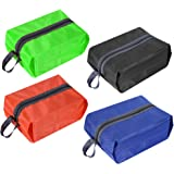 Luvan Waterproof Durable Nylon Shoe Bags with Zipper Closure for Travel Storage (Black Orange Blue and Green, Set of 4)