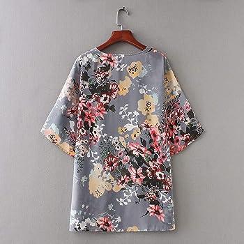 Yvelands Mujer Chiffon Floral Kimono Suelta Media Manga Chal impresión Cardigan Camisas Blusa Superior(Gris, XS): Amazon.es: Ropa y accesorios