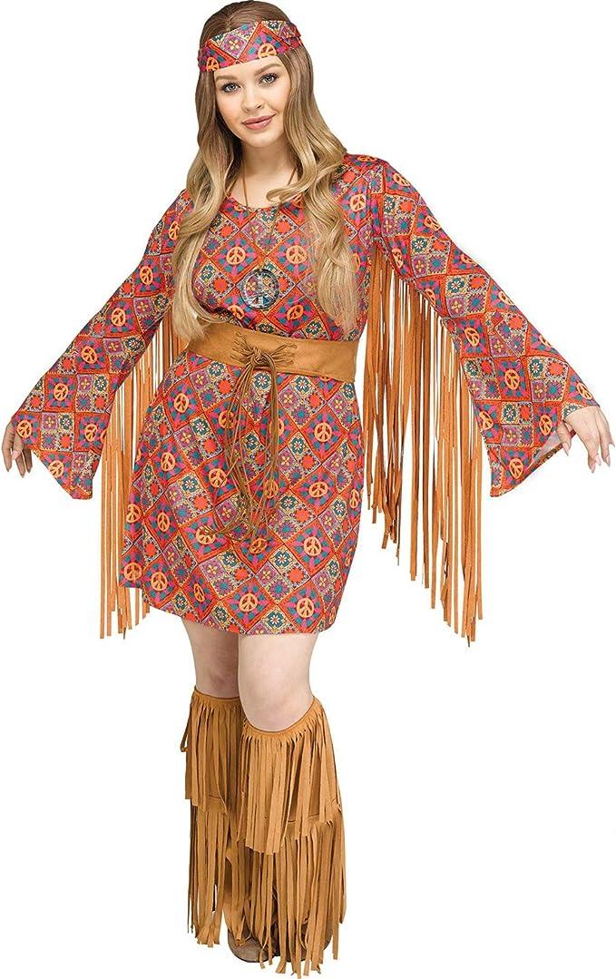 60s Costumes: Hippie, Go Go Dancer, Flower Child, Mod Style Fun World Womens Plus Size 60s Free Spirit Hippie Halloween Costume $56.48 AT vintagedancer.com