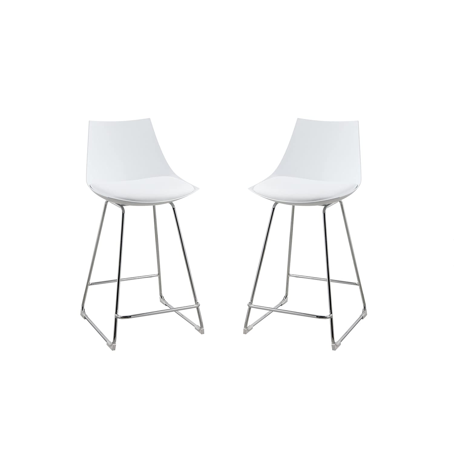 Amazon com emerald home neo white 24 bar stool with molded plastic shell cushioned seat and metal bracing set of two kitchen dining