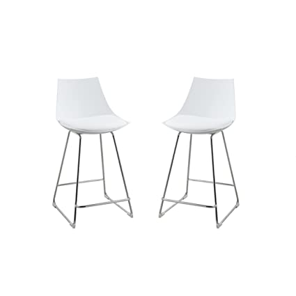 Amazoncom Emerald Home Neo White 24 Bar Stool With Molded Plastic